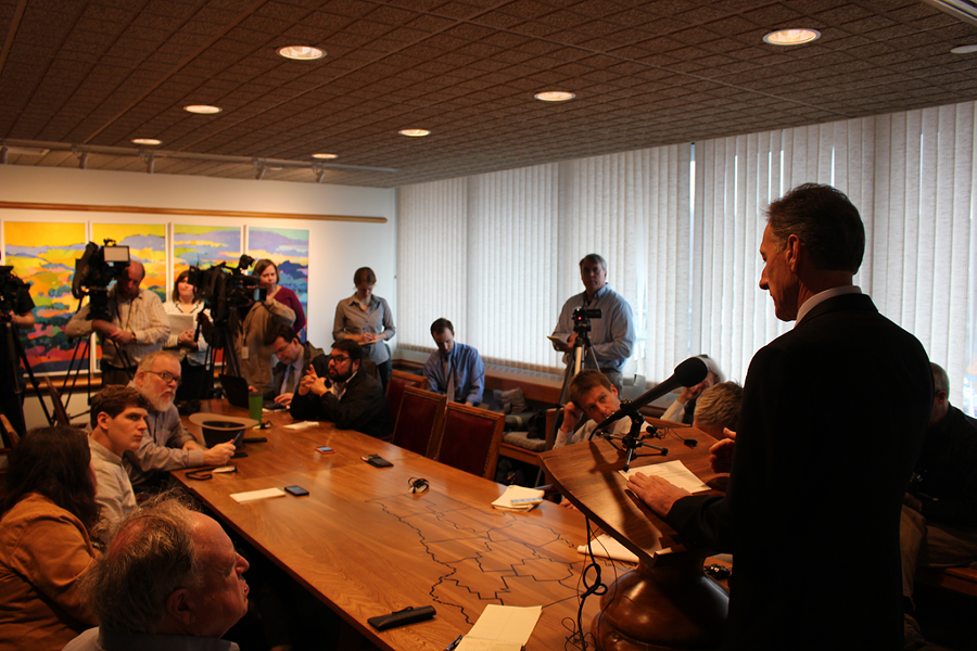Gov. Peter Shumlin addresses the media last Wednesday at his Montpelier office - PAUL HEINTZ