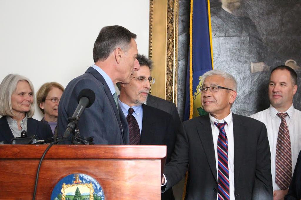 Gov. Peter Shumlin and Health Commissioner Harry Chen in December 2014 - PAUL HEINTZ