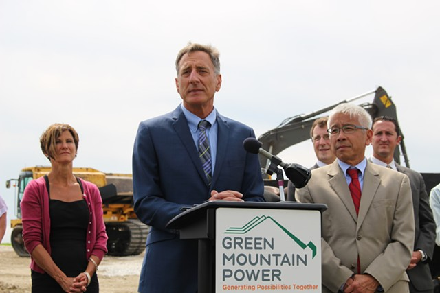 Gov. Peter Shumlin and his interim secretary of the Agency of Human Services, Harry Chen, at a press conference in Rutland on Tuesday. - PAUL HEINTZ