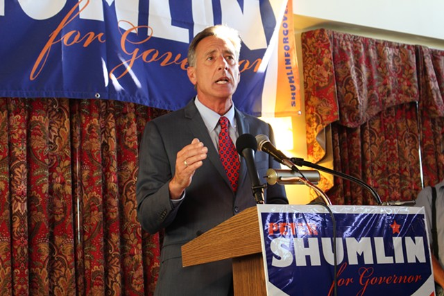 Gov. Peter Shumlin announces his third run for governor Tuesday in Burlington. - PAUL HEINTZ