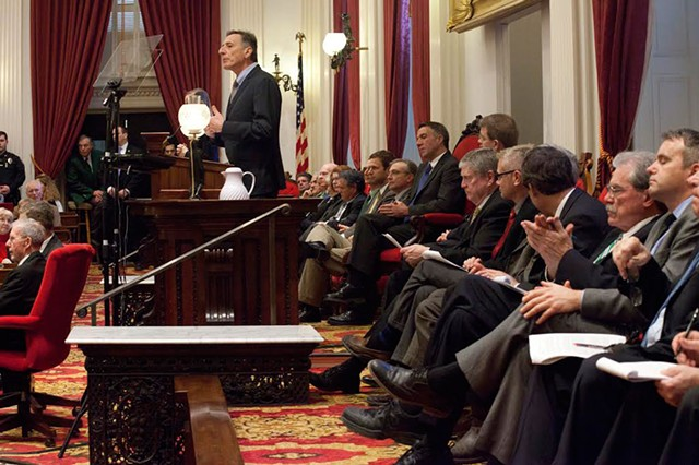 Gov. Peter Shumlin delivers his budget address in January. - MATTHEW THORSEN