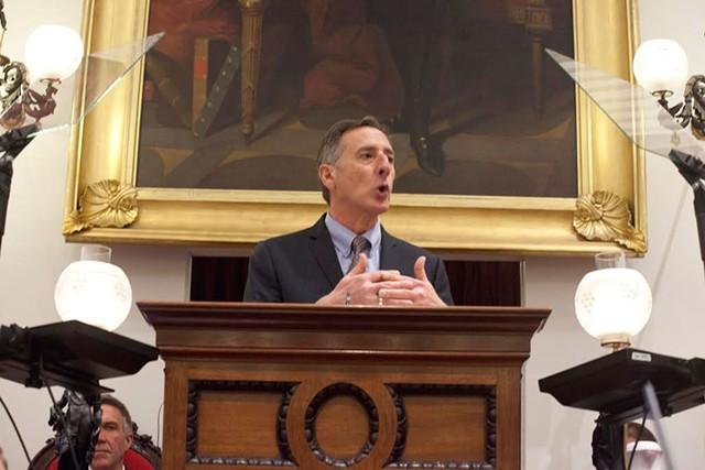 Gov. Peter Shumlin delivers his fifth budget address. - MATTHEW THORSEN