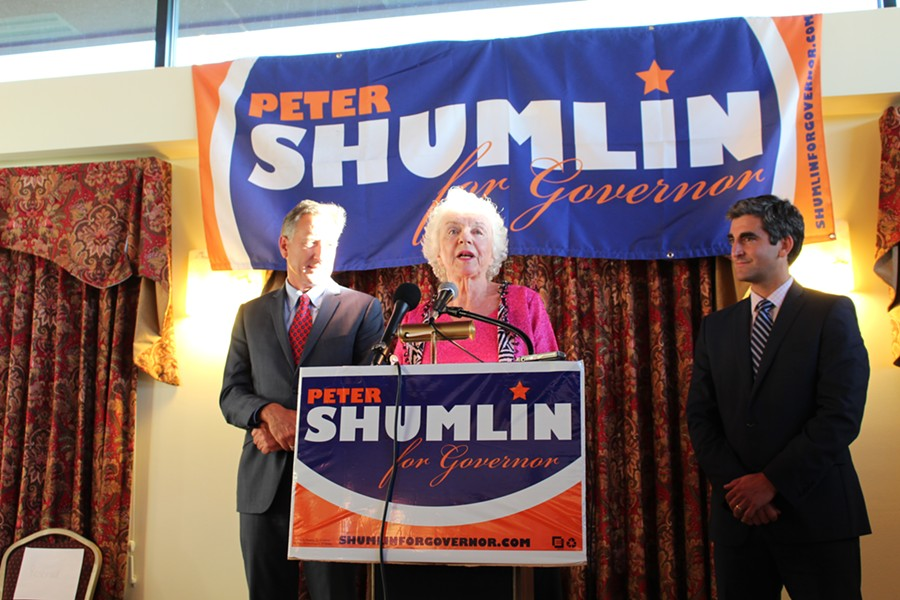 Gov. Peter Shumlin, former governor Madeleine Kunin and Mayor Miro Weinberger - PAUL HEINTZ