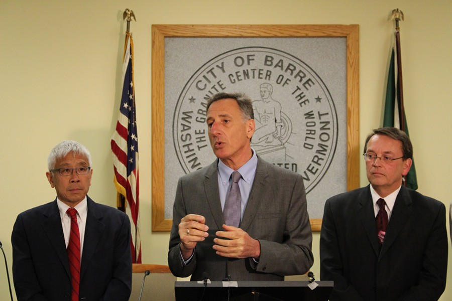 Gov. Peter Shumlin speaks at a Barre press conference Thursday with Health Commissioner Harry Chen and Barre Mayor Thom Lauzon. - PAUL HEINTZ
