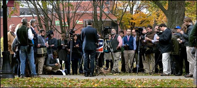 Gov. Shumlin addresses reporters Wednesday at Burlington's City Hall Park. - MATTHEW THORSEN