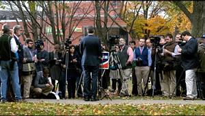 Gov. Shumlin addresses reporters Wednesday at Burlington's City Hall Park.
