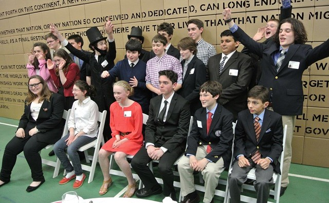 Greenwood students, including one with a Lincolnian beard, exult at the premiere of The Address - COURTESY OF ARIA CARTER