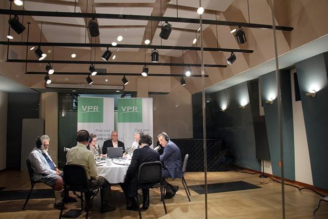 Gubernatorial candidates debate at VPR's Colchester studios. - COURTESY: VPR'S ANGELA EVANCIE