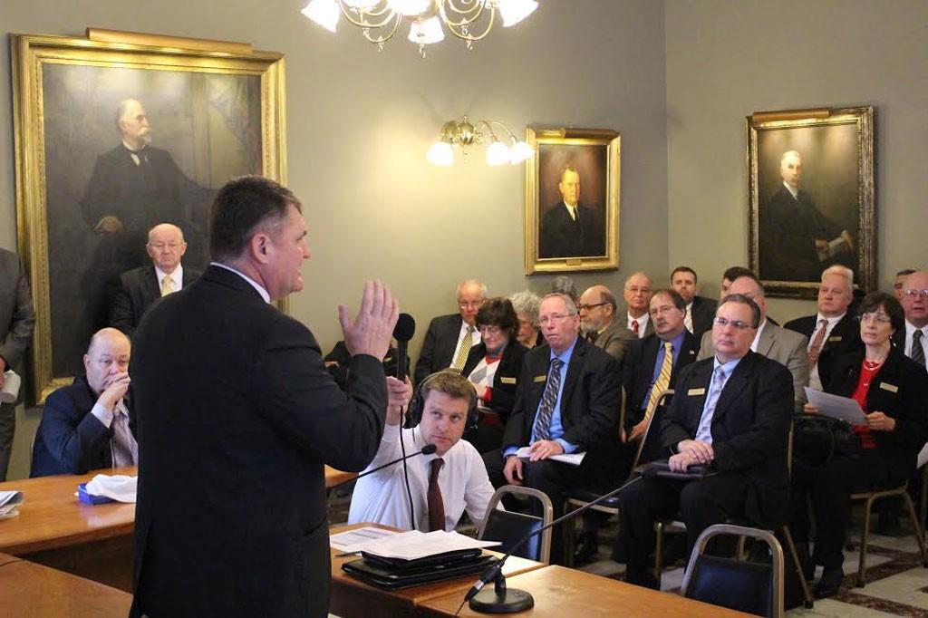 House Minority Leader Don Turner addresses the Republican caucus. - PAUL HEINTZ