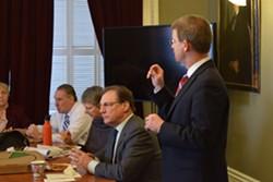 House Speaker Shap Smith speaks Wednesday to the  Working Vermonters' Caucus. - TERRI HALLENBECK