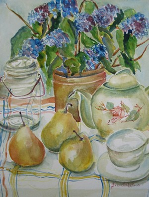 "COURTESY OF HASTON LIBRARY - ""Hydrangea and Pears"" by Susan Galusha"
