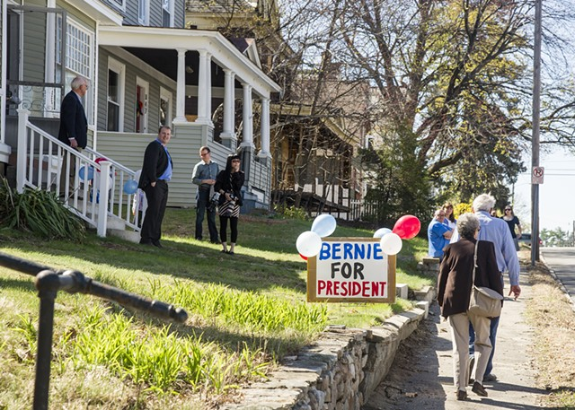 This sign marked the house-party campaign stop in Manchester, N.H. - ALAN MACRAE