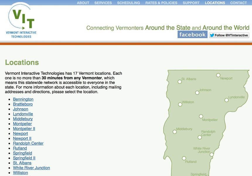 Vermont Interactive Television's website - SCREENSHOT