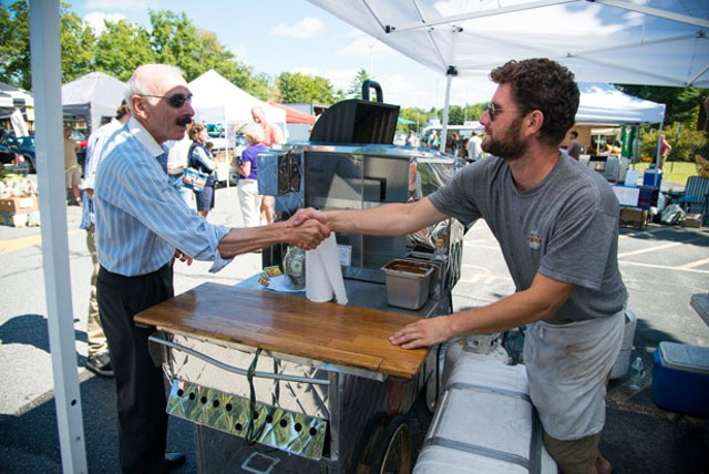 Jack McMullen and Brian Stefan at the South Burlington Farmers Market - ANDY DUBACK