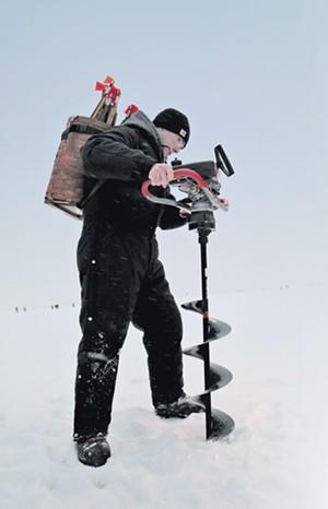 James Ehlers ice fishing on Lake Champlain - MATTHEW THORSEN