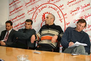 James Marc Leas (right) at Al Dameer, a nongovernmental organization, during his recent tour of Gaza