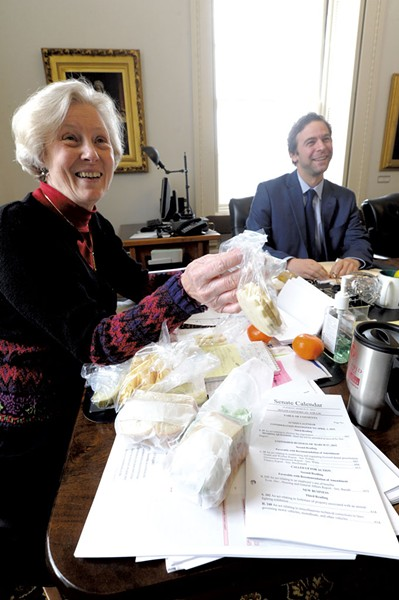 Jane Kitchel brings lunch for Tim Ashe - JEB WALLACE-BRODEUR