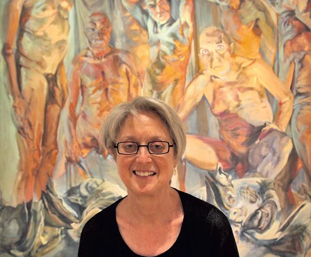 "Janie Cohen sits in front of ""Bordel"" by Gerri Davis. - MATTHEW THORSEN"