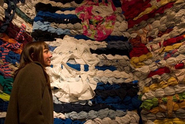 Jennifer Combe checks out an installation by Marcy Pope