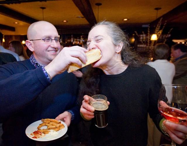 Joe Speidel feeds an oyster po' boy to Maura O'Sullivan - ANDY DUBACK