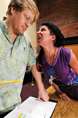 "Karin Trachtenberg, right, and Jeff Tolbert rehearse a scene from ""Ktsiaiak/Old Ones"" - JEB WALLACE-BRODEUR"