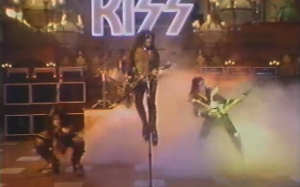 """KISS lip-synching and air-guitaring their way through """"Detroit Rock City"""" on """"The Paul Lynde Halloween Special"""""""
