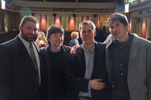 L to R: Greenwood headmaster Stewart Miller; filmmaker Ken Burns; film editor Craig Mellish; producer Christopher Darling - COURTESY OF NATE SEBOLD