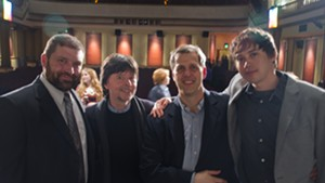 L to R: Greenwood headmaster Stewart Miller; filmmaker Ken Burns; film editor Craig Mellish; producer Christopher Darling