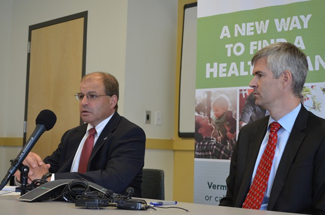 Lawrence Miller, Gov. Shumlin's chief of health care reform, and Commissioner Mark Larson - FILE: ALICIA FREESE