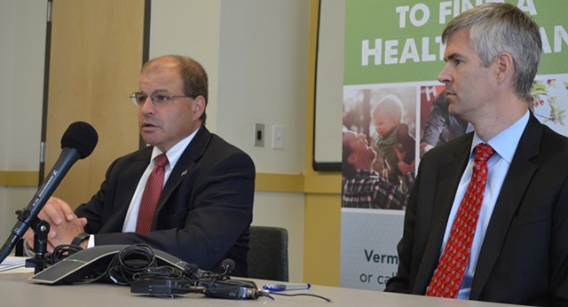 Lawrence Miller, left, and Mark Larson at Vermont Health Connect's Winooski office - ALICIA FREESE