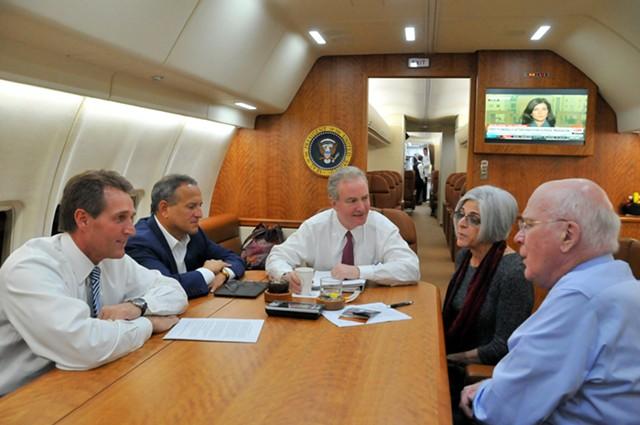 Sen. Jeff Flake, Congressman Chris Van Hollen, Judy Gross and Sen. Patrick Leahy flying to Havana Wednesday morning. - COURTESY: SEN. LEAHY'S OFFICE