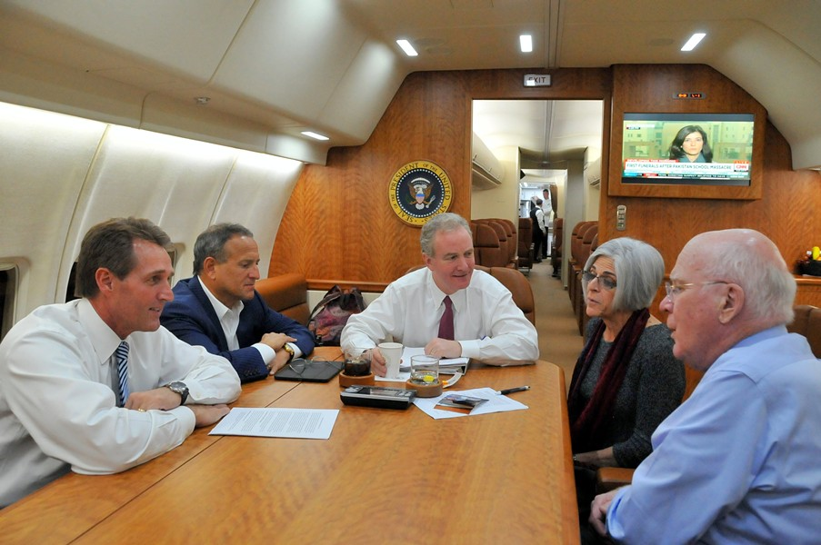 Sen. Jeff Flake, Congressman Chris Van Hollen, Judy Gross and Sen. Patrick Leahy flying to Havana Wednesday morning. - COURTESY: SEN. LEAHY'S OFFICE
