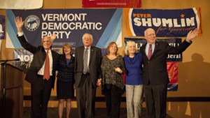 Congressman Peter Welch, Margaret Cheney, Sen. Bernie Sanders, Jane Sanders, Marcelle Leahy and Sen. Patrick Leahy on Election Night in Burlington