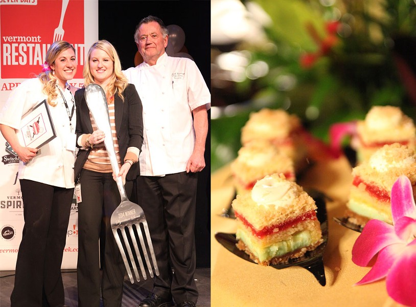 """Left: Smackdown winners Alyssa Tourville and Jozef Harrewyn of Chef's Corner with Kylie Webster (center) of Vermont Federal Credit Union. Right: Tourville's winning creation """"Tropical Napoleon."""" - MATTHEW THORSEN"""