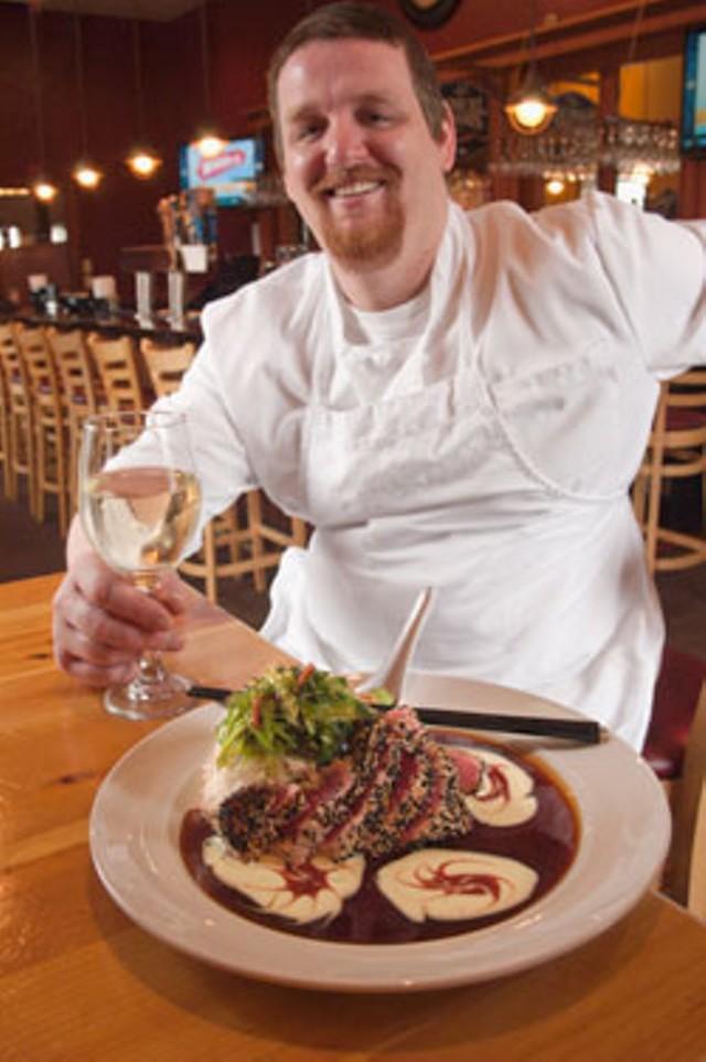 Levi Carter with sesame-seared yellowfin tuna - MATTHEW THORSEN