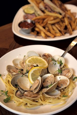 Linguini with clams and Cubano sandwich - MATTHEW THORSEN