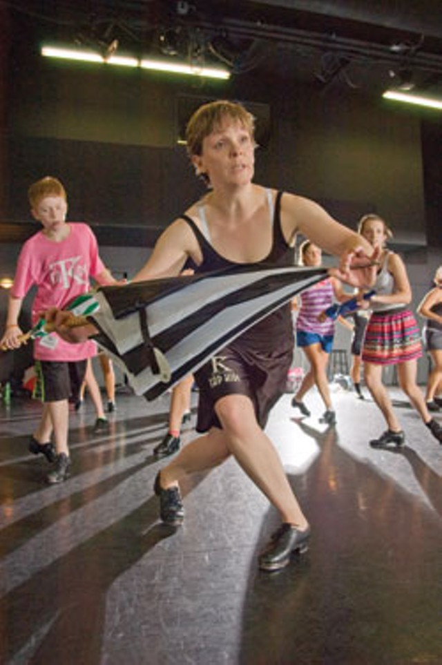 Lisa Hopkins and some of her Tap Kids - MATTHEW THORSEN