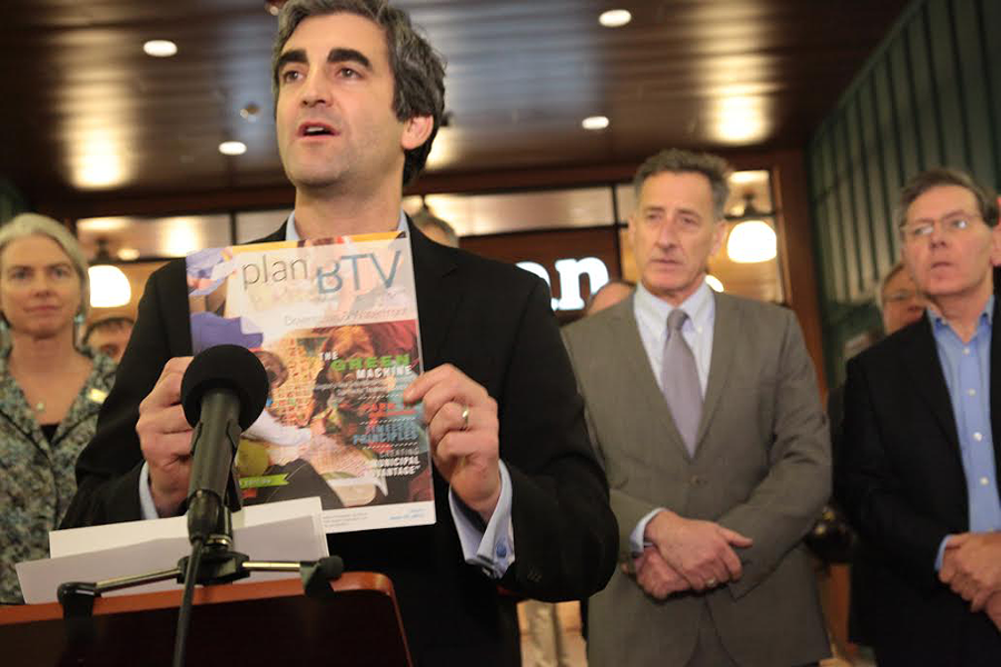 Mayor Miro Weinberger announces a $200 million redevelopment of the Burlington Town Center last week. - MATTHEW THORSEN