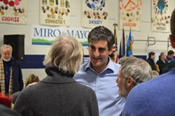 Mayor Miro Weinberger at the Burlington Democratic caucus - ALICIA FREESE