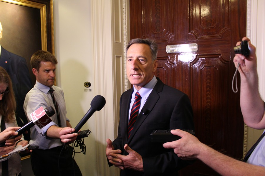 Gov. Peter Shumlin addresses reporters Monday at the Statehouse. - PAUL HEINTZ