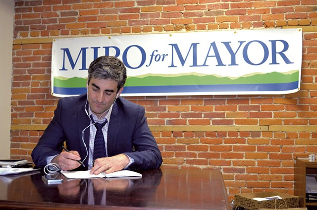 Miro Weinberger at his campaign headquarters - ALICIA  FREESE