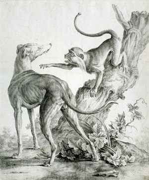 """COURTESY OF THE HYDE MUSEUM - """"Monkey and Dog, ca. 1817"""" by Godefroy Engelmann"""