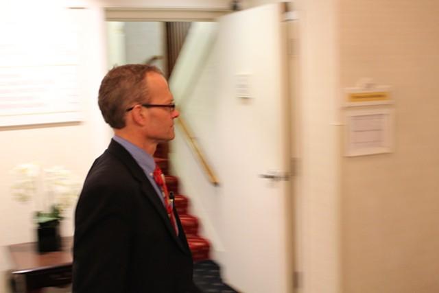 Rep. Willem Jewett (D-Ripton) enters a $500-a-head lobbyist fundraiser in May 2014. - FILE: PAUL HEINTZ