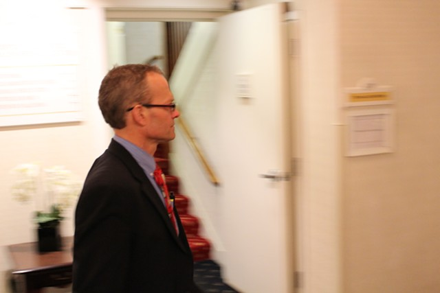 Rep. Willem Jewett (D-Ripton) enters a $500-a-head lobbyist fundraiser in May 2014. - FILE: PAUL HEINTZ