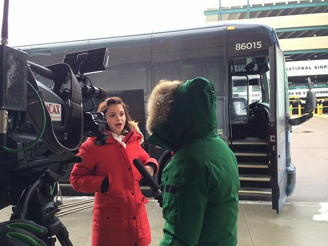 Montréal student Natalia Bustamante sounding off to WCAX's Gina Bullard - CORIN HIRSCH