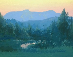 "COURTESY OF VERMONT FINE ART GALLERY - ""Mount Mansfield at Sunset"" by Elizabeth Wooden"