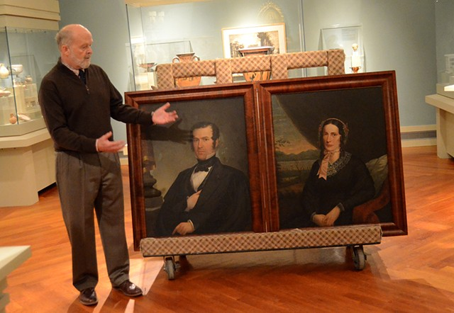 Museum director Richard Saunders unveils portraits of Henry Bliss and Electa Northup. - COURTESY OF KEREN AND MATT LENNON/MIDDLEBURY COLLEGE