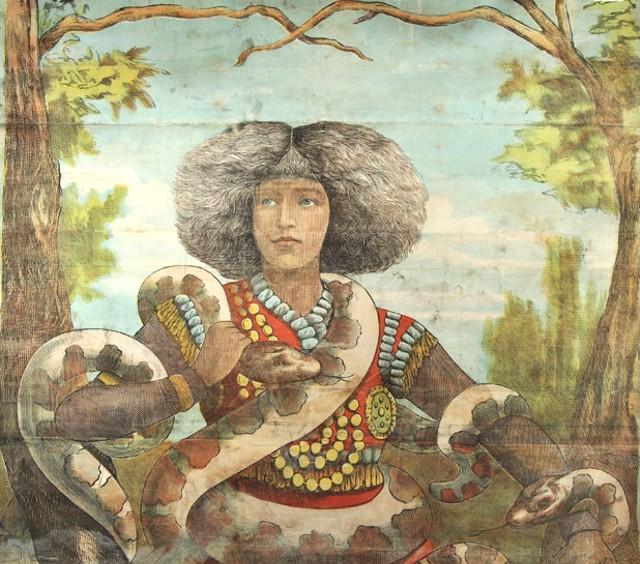 """""""Nala Damajoute, Snake Charmer,"""" 1883 (found on Degree home in Colchester, 1991)"""