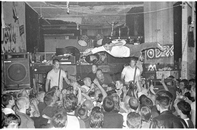 """""""Negative Approach at the Freezer Theater, Detroit, Michigan, 1982"""", by Davo Schiech"""