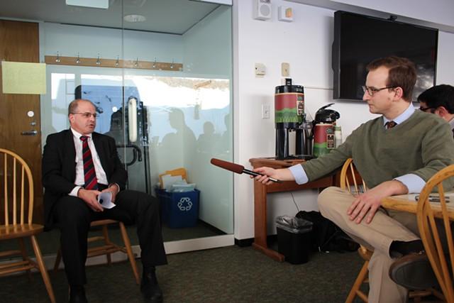Lawrence Miller and WCAX-TV's Kyle Midura - PAUL HEINTZ